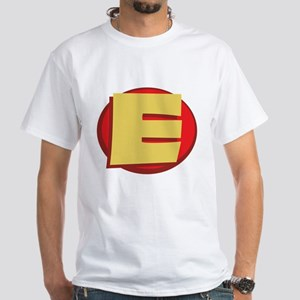 "SuperHero Letter ""E"" White T-Shirt"